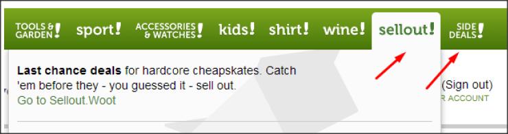 Sellout! – раздел распродаж на распродажном сайте